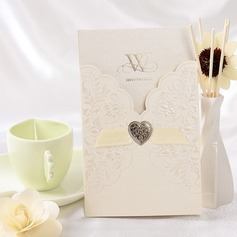 Flora Stil Wrap & Cep Invitation Cards Ile Saten Kurdele