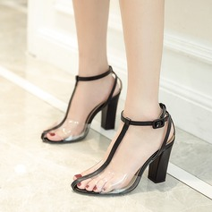 Women's Leatherette PVC Chunky Heel Sandals Pumps With Split Joint shoes