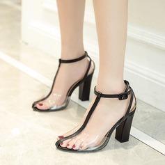 Kvinnor Konstläder PVC Tjockt Häl Sandaler Pumps med Split gemensamma skor