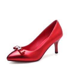 Femmes Similicuir Talon stiletto Escarpins avec Cristal Bowknot chaussures
