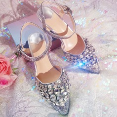 Kvinnor Glittrande Glitter Stilettklack Peep Toe Sandaler Beach Wedding Shoes med Strass