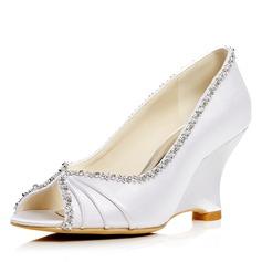 Women's Satin Wedge Heel Peep Toe Pumps Sandals With Rhinestone