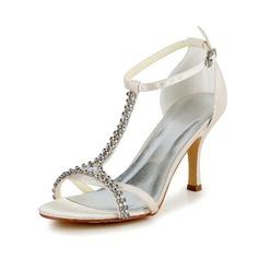 Kadın Saten İnce Topuk Bağcıksız Sandalet Ile Toka Yapay elmas