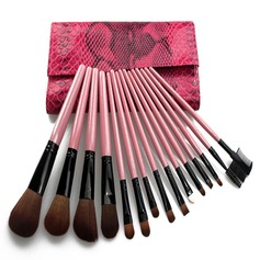 15 Pcs Makeup Brush Set With Red Crocodile Skin Pouch