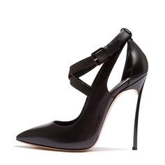 Femmes Vrai cuir Talon stiletto Escarpins Bout fermé avec Boucle chaussures