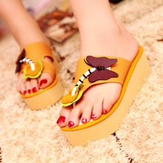Women's Leatherette Flat Heel Sandals Flats Wedges Peep Toe With Animal Print shoes