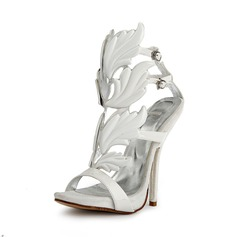 Patent Leather Velvet Stiletto Heel Peep Toe Sandals Pumps