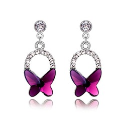 Butterfly Shaped Alloy Crystal Ladies' Fashion Earrings