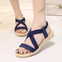 Women's Suede Wedge Heel Sandals Peep Toe Slingbacks With Others Elastic Band shoes