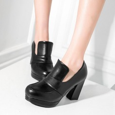 Women's Leatherette Chunky Heel Pumps Closed Toe With Split Joint shoes