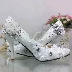 Women's Patent Leather Stiletto Heel Closed Toe Pumps With Imitation Pearl Rhinestone Stitching Lace Flower