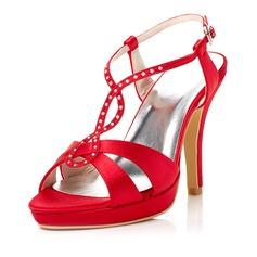 Women's Satin Stiletto Heel Peep Toe Sandals Slingbacks With Buckle Rhinestone