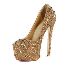 Patent Leather Stiletto Heel Pumps Platform Closed Toe With Rhinestone shoes