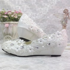 Women's Patent Leather Wedge Heel Closed Toe Pumps With Rhinestone Stitching Lace Flower
