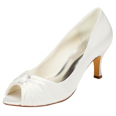 Women's Lace Satin Chunky Heel Peep Toe