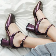 Women's Real Leather Chunky Heel Pumps Closed Toe Mary Jane shoes