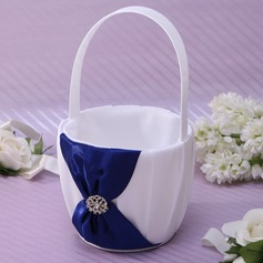 Beautiful Flower Basket in Satin With Rhinestones