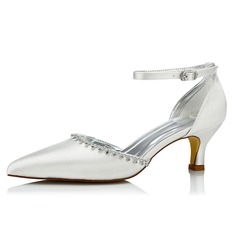 Women's Satin Low Heel Pumps Dyeable Shoes With Rhinestone