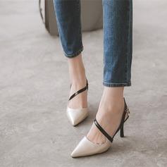 Frauen Kunstleder Stöckel Absatz Sandalen Absatzschuhe Geschlossene Zehe Slingpumps mit Schnalle Zweiteiliger Stoff Schuhe