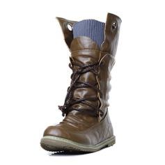 Dla kobiet Skóra ekologiczna Płaski Obcas Zamknięty Toe Połowy łydki buty Z Plecione Ramiączko obuwie