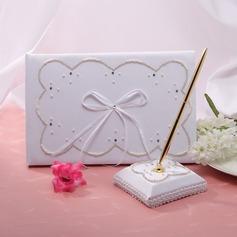 Elegante Di faux perla/Nastri Guestbook & Set di penne