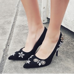 Women's Real Leather Stiletto Heel Pumps Closed Toe With Rhinestone shoes