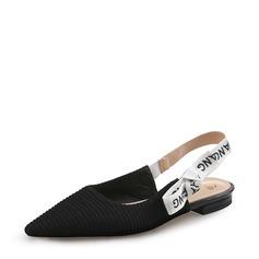 Femmes Tissu Talon plat Chaussures plates Bout fermé Escarpins avec Bowknot chaussures