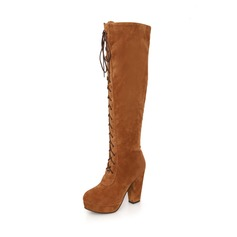 Suede Chunky Heel Over The Knee Boots With Zipper shoes