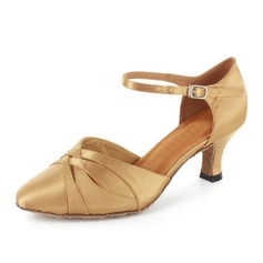 Women's Satin Heels Modern With Ankle Strap Dance Shoes
