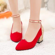 Dla kobiet Byszczący brokat PU Obcas Slupek Czólenka Zakryte Palce Z Klamra obuwie