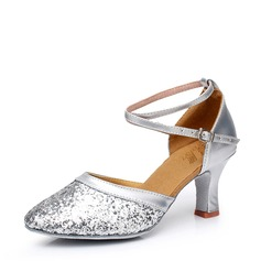 Women's Leatherette Sparkling Glitter Heels Latin Ballroom Party With Ankle Strap Dance Shoes
