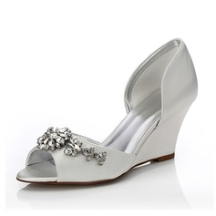 Women's Satin Wedge Heel Peep Toe Sandals Dyeable Shoes With Rhinestone