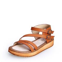 Femmes Similicuir Talon plat Sandales À bout ouvert avec Boucle chaussures