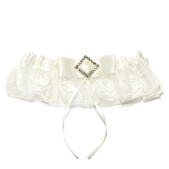 Amazing Organza With Flower Rhinestone Wedding Garters