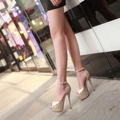 Women's Leatherette Stiletto Heel Peep Toe Platform With Sequin