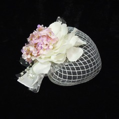 Elegant Pearl Net yarn Tulle Fascinators