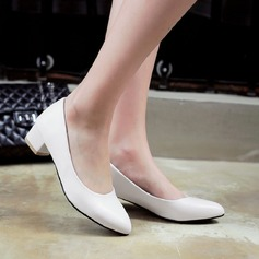 Women's Leatherette Chunky Heel Closed Toe Pumps