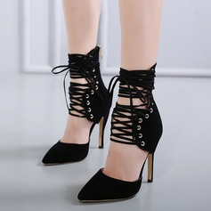 Women's Suede Stiletto Heel Pumps Closed Toe With Rivet Ribbon Tie shoes
