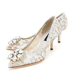 Femmes Dentelle Talon stiletto Bout fermé Beach Wedding Shoes avec Strass