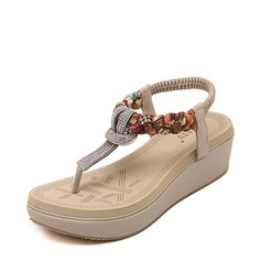 Femmes Similicuir Talon compensé Sandales Plateforme Compensée À bout ouvert avec Strass Lanière tressé Élastique chaussures