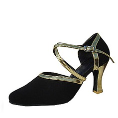 Women's Leatherette Nubuck Heels Pumps Modern With Ankle Strap Dance Shoes