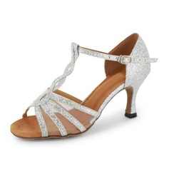 Women's Sparkling Glitter Heels Sandals Latin Salsa With T-Strap Dance Shoes
