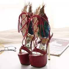 Women's Leatherette Stiletto Heel Sandals Platform Peep Toe With Feather Braided Strap shoes
