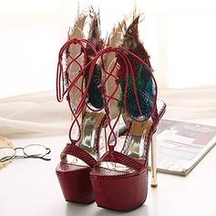 Femmes Similicuir Talon stiletto Sandales Plateforme À bout ouvert avec Feather Lanière tressé chaussures