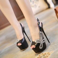 Vrouwen Kunstleer Chunky Heel Sandalen Pumps Plateau Peep Toe Slingbacks met Hol-out schoenen