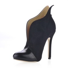 Suede Stiletto Heel Closed Toe Ankle Boots With Split Joint