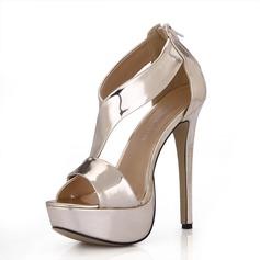 Rugan İnce Topuk Sandalet Platform Peep Toe Ile Fermuar ayakkabı