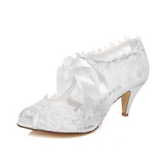 Women's Lace Cone Heel Peep Toe Sandals