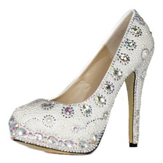 Patent Leather Stiletto Heel Closed Toe Platform Pumps With Rhinestone Imitation Pearl