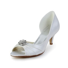 Women's Satin Kitten Heel Peep Toe Sandals With Flower